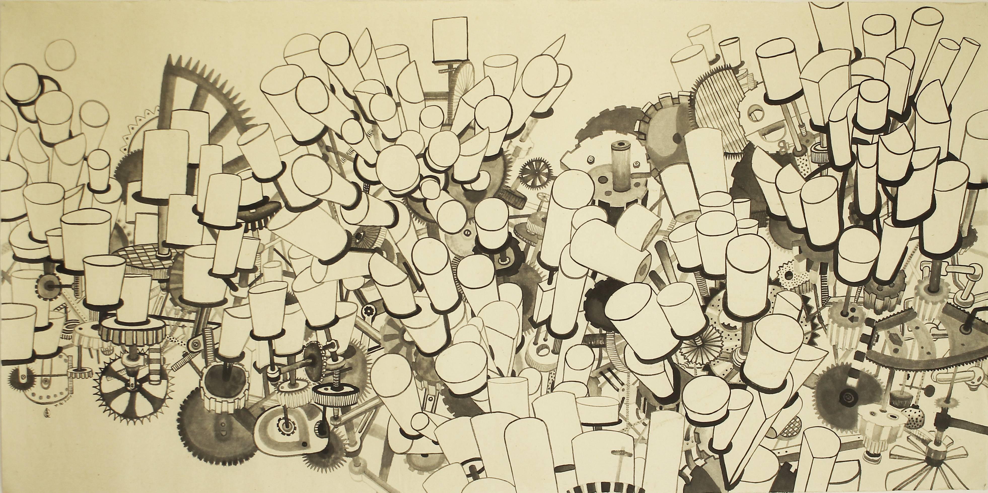 LOH Yi Pei, The Spinning City,ink on paper, 65x129.5cm,2017