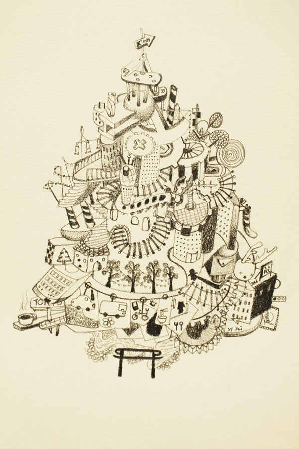 12.-Christmas-Time--the-Urban-Theme,-pencil-on-paper,-29