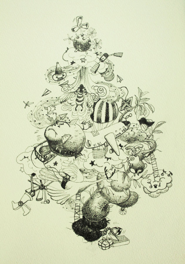 14.-Christmas-Time--the-Sky-Theme,-pencil-on-paper,-29
