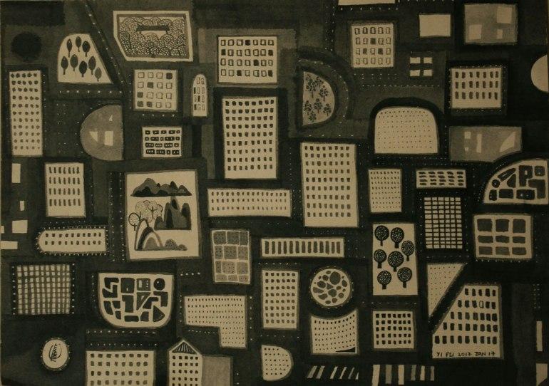 20.-Good-Night,-City,-ink-on-paper,-28x40