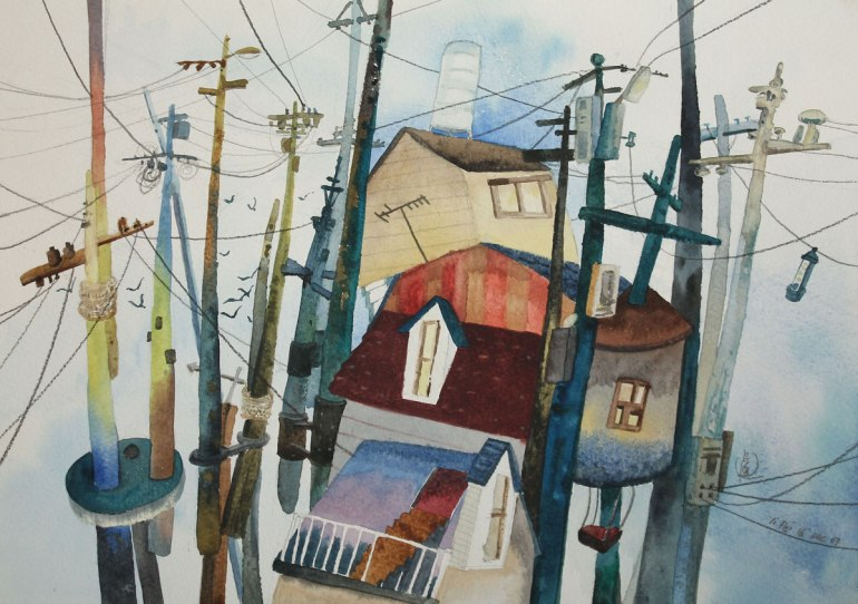 4.-Web-above-the-Houses,-watercolour-on-paper,-25.2x35