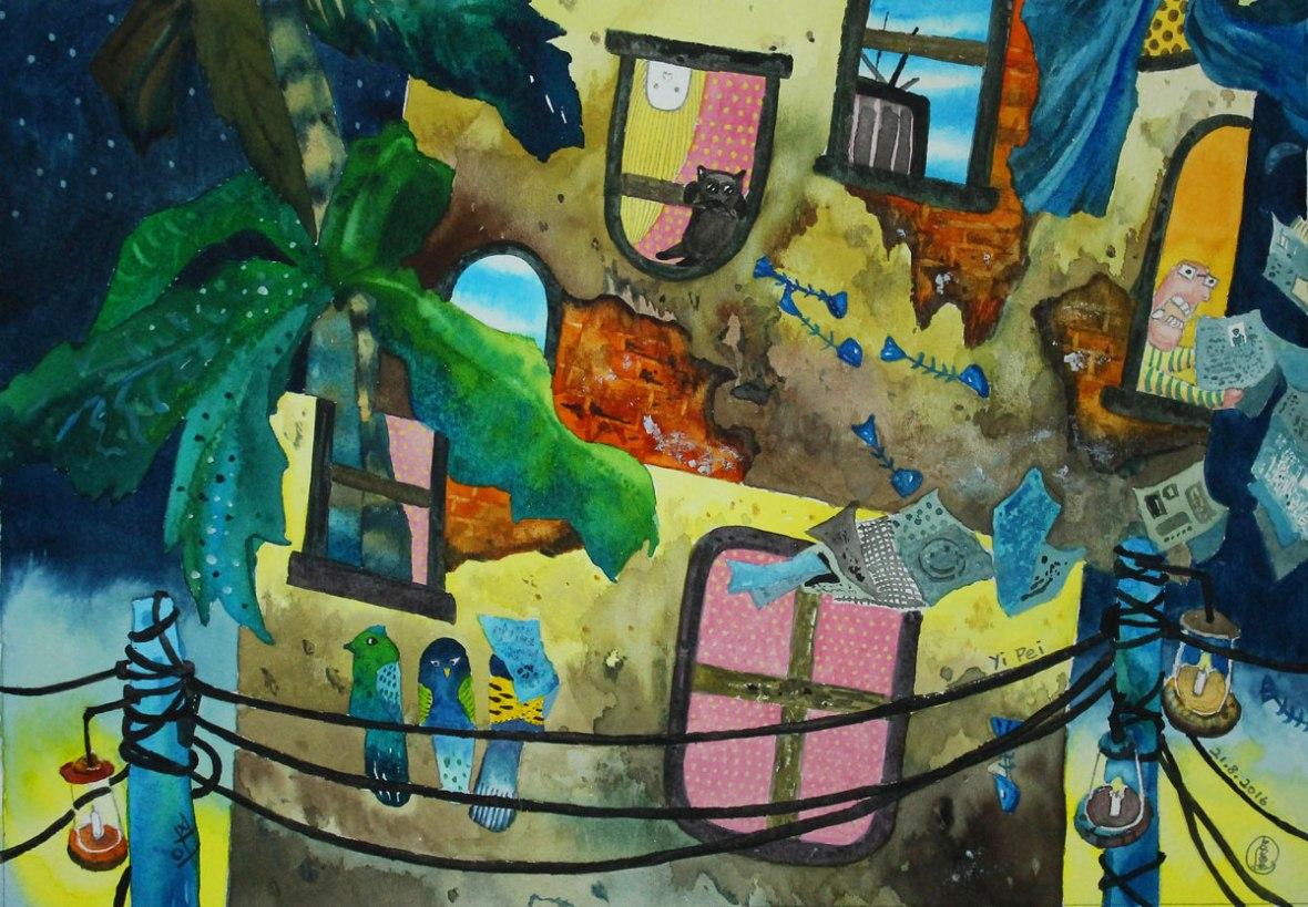 LOH-Yi-Pei,-Be-as-Calm-as-the-Birds,-watercolour-on-paper,-24x34.5cm,-2016