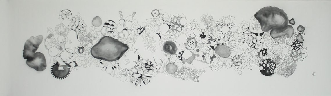 LOH-Yi-Pei,-Birds-Eye-View-of-a-City,--ink-on-paper,-35.5x121