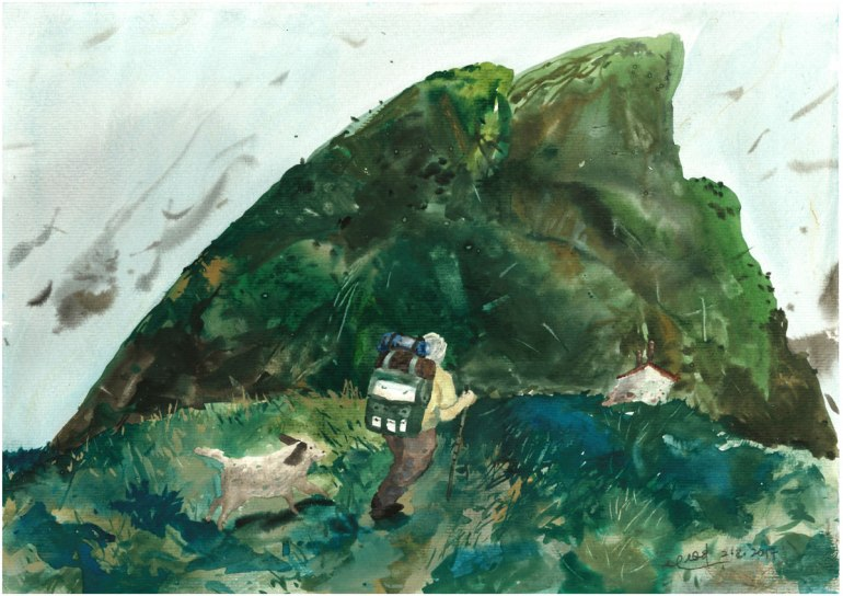 LOH-Yi-Pei,-Hiker-and-his-Dog,-watercolour-on-paper,-29
