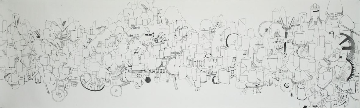 LOH-Yi-Pei,-The-City-with-Moving-Stairs,-ink-on-paper,-35.5x118