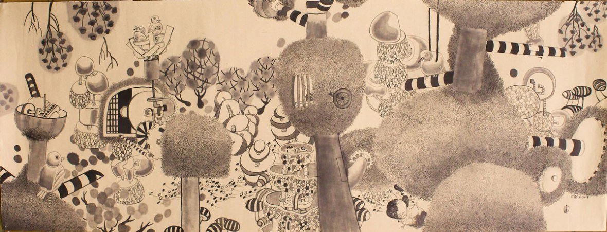 LOH-Yi-Pei,-The-Secret-Garden,-ink-on-paper,-38x100