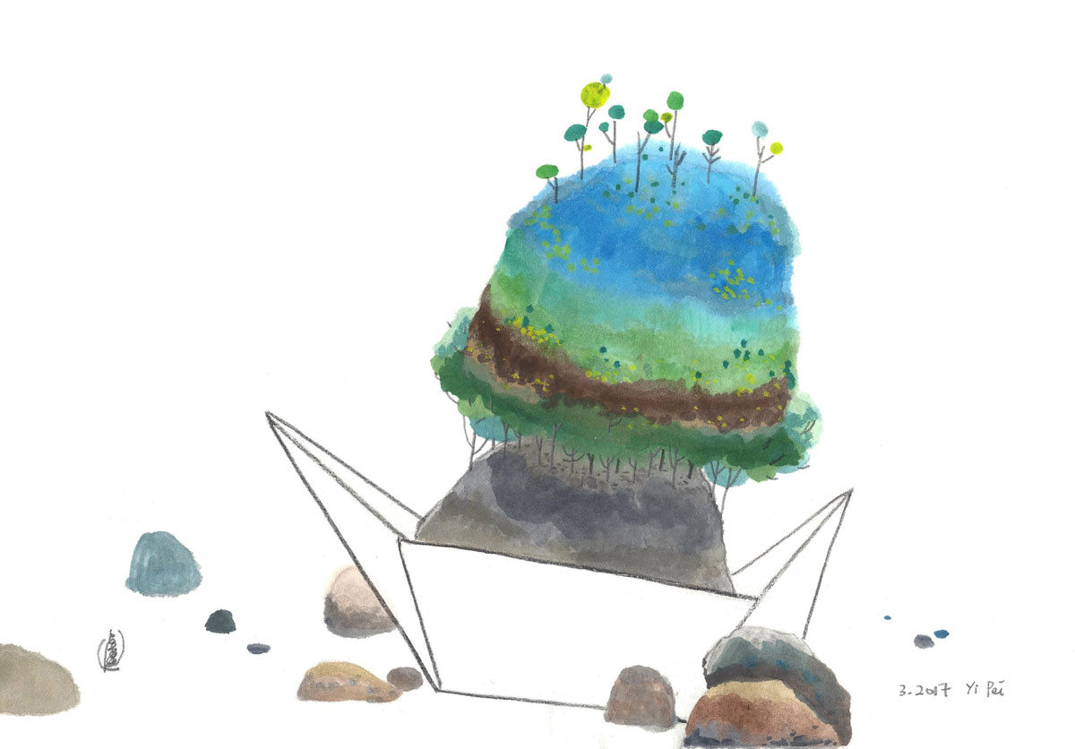 LOH-Yi-Pei,-The-Stranded-Boat-Became-an-Island,-watercolour-and-pencil-on-paper,-20