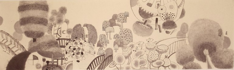 LOH-Yi-Pei,-Went-for-a-Walk,-ink-on-paper,-28.5x95