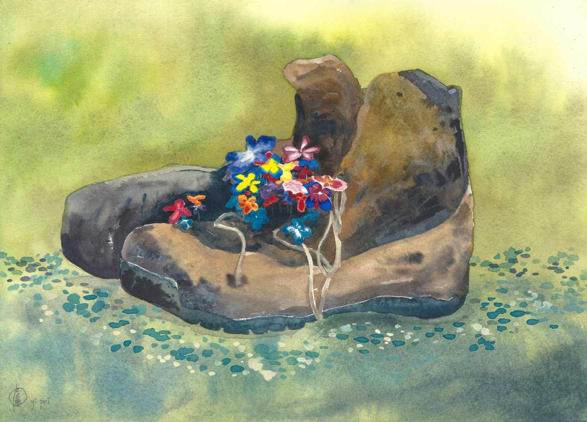 Flowery Boots, watercolour on paper, 25x35cm, 2018.
