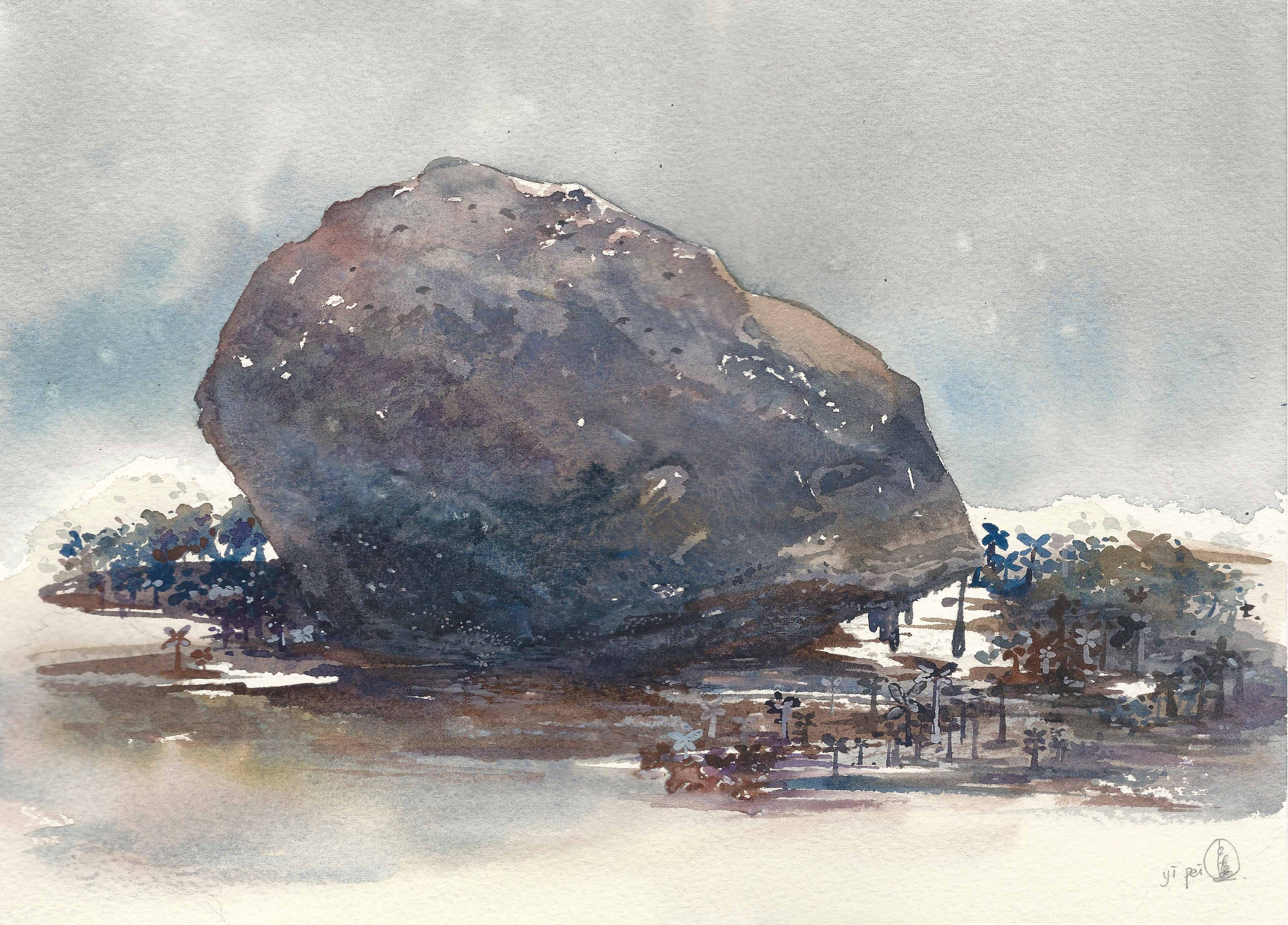 Melting Rock, watercolour on paper, 25x35cm, 2018.