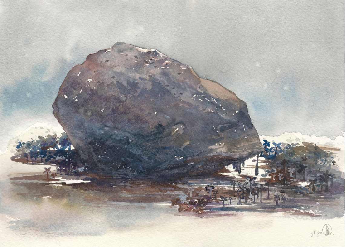 Melting Rock, watercolour on paper, 25x35cm, 2018.