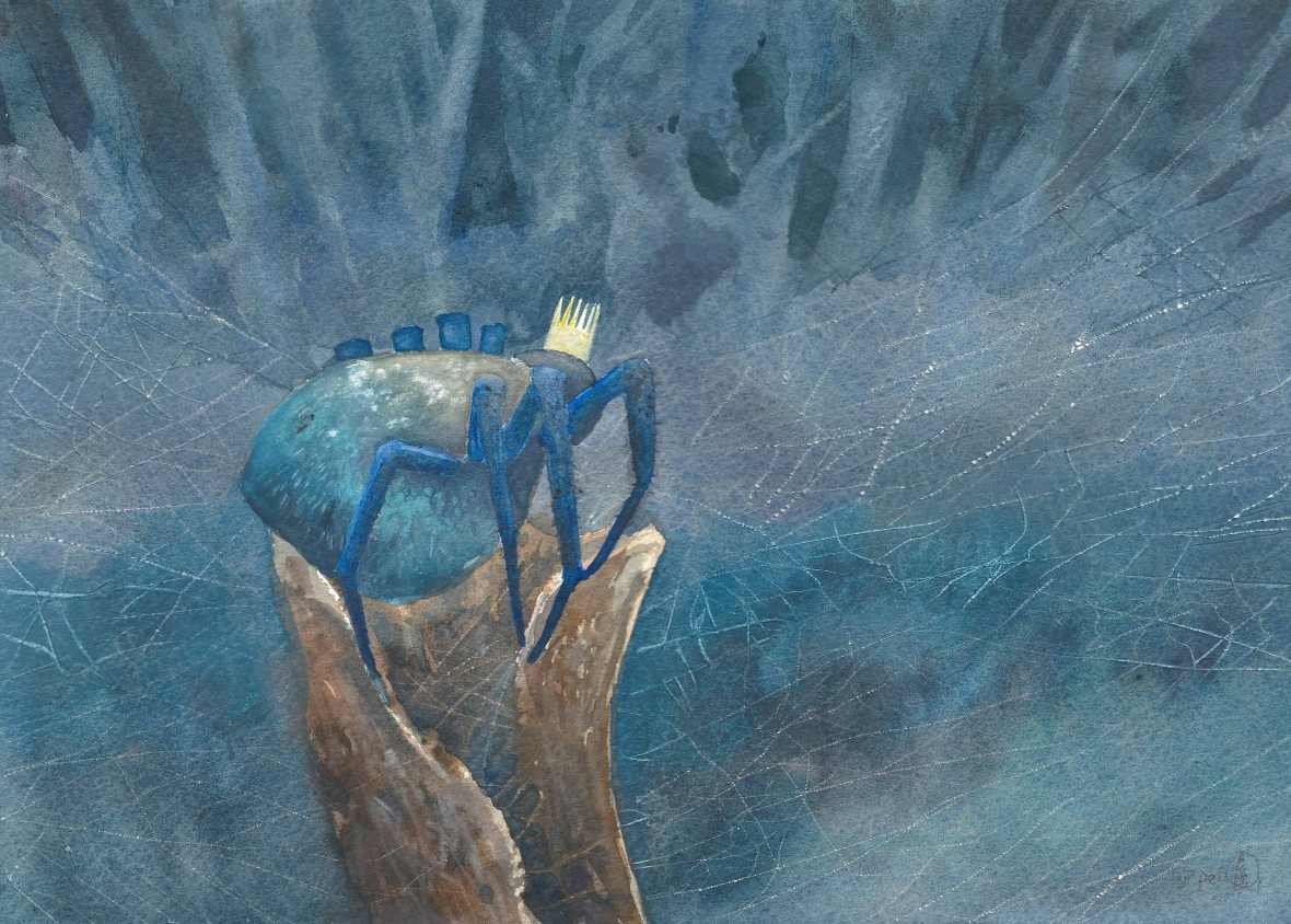Spider King, watercolour on paper, 25x35cm, 2018.